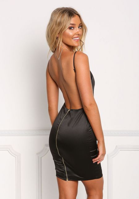 Black Open Back Silky Bodycon Dress