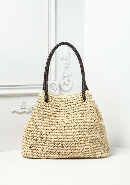 Natural Woven Braided Tote Bag