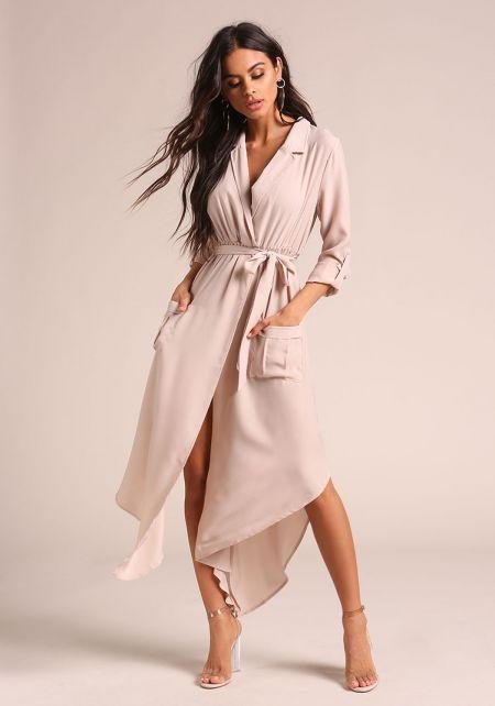 Khaki Collared Pocket Maxi Dress