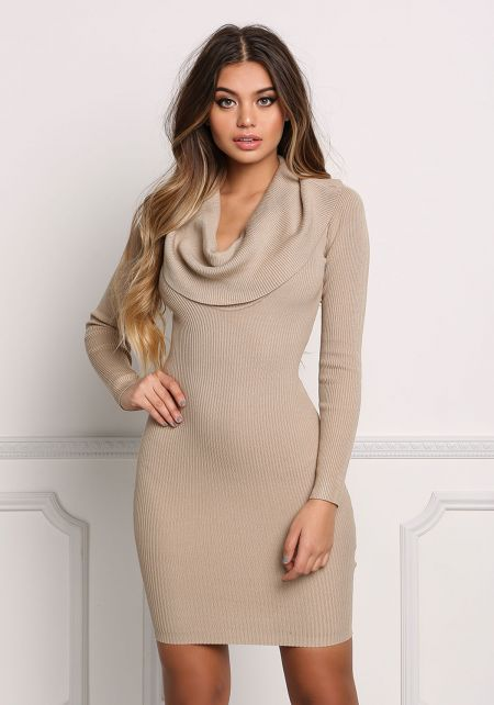 Taupe Cowl Neck Off Shoulder Bodycon Dress