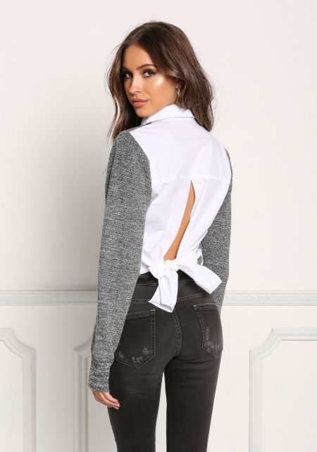 Grey Tie Back Two In One Collared Sweater Top