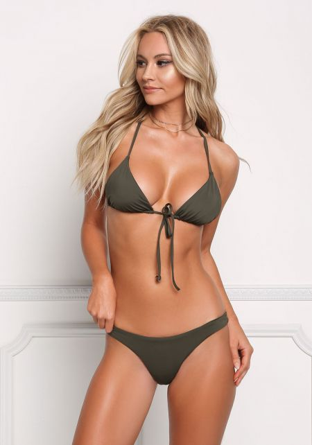 Olive High Cut Low Rise Swimsuit Bikini Bottoms