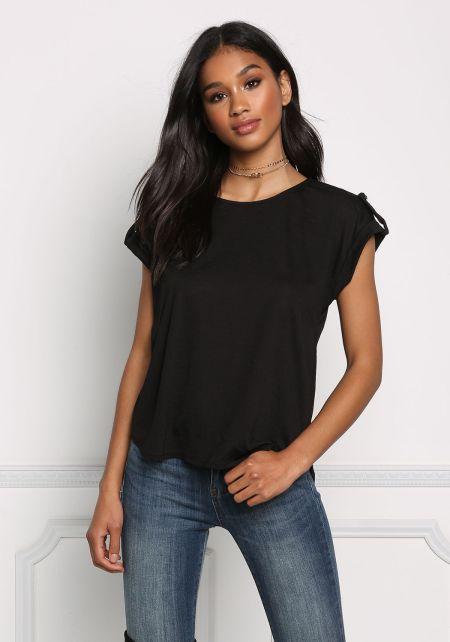 Black Basic Cap Sleeve Blouse