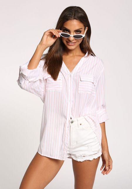 White and Pink Pinstripe Pocket Blouse