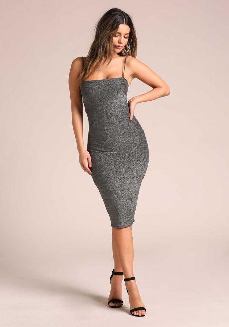 Silver Sparkled Bodycon Dress