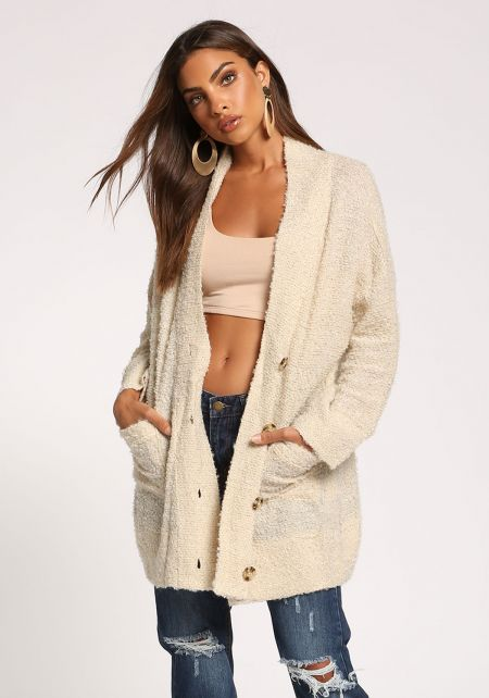 Ivory Button Front Pocket Cardigan