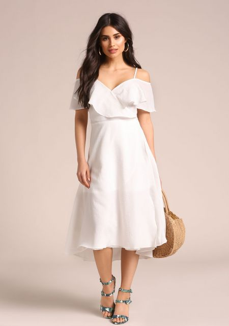 White Ruffle Wrap Midi Dress