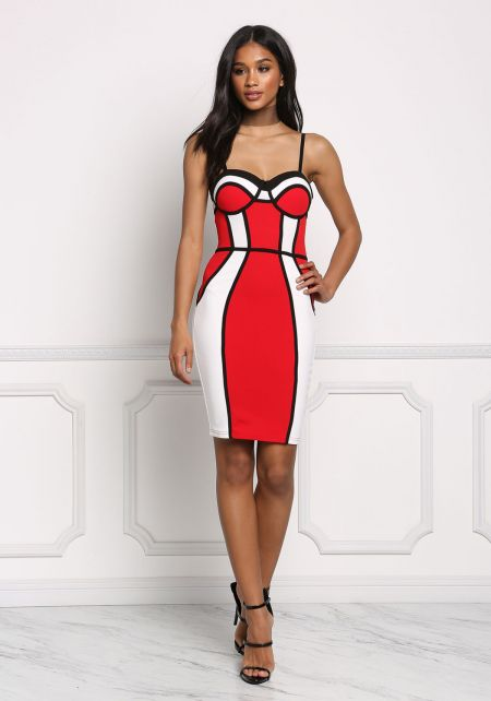 White and Red Color Block Bustier Bodycon Dress