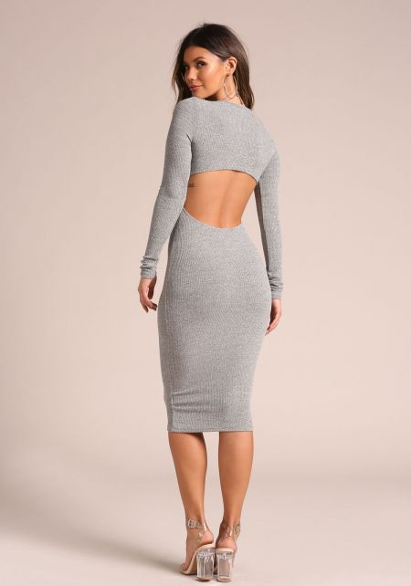 Grey Back Cut Out Ribbed Knit Bodycon Dress