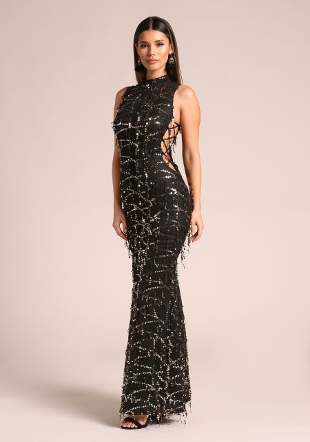 Black Sequin Side Lace Up Maxi Gown