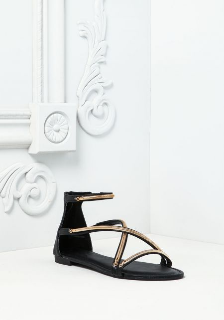 Black Leatherette Double Strap Sandals