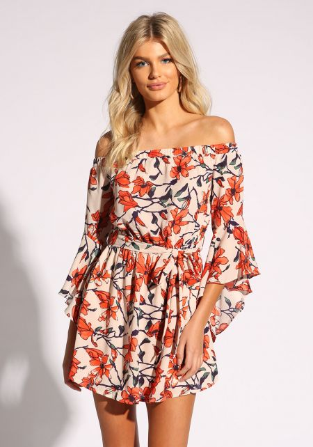Orange Floral Bell Sleeve Flared Dress