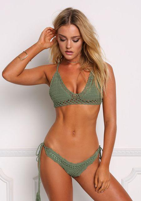 Olive Crochet Cross Strap Swimsuit Bikini Top