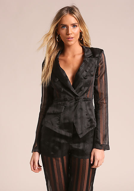 Black Pinstripe Double Breasted Organza Blazer
