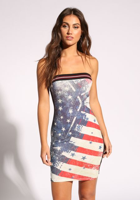 Multi Stars & Stripes Strapless Dress