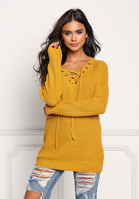 Mustard Thick Knit Lace Up Tunic Sweater Top
