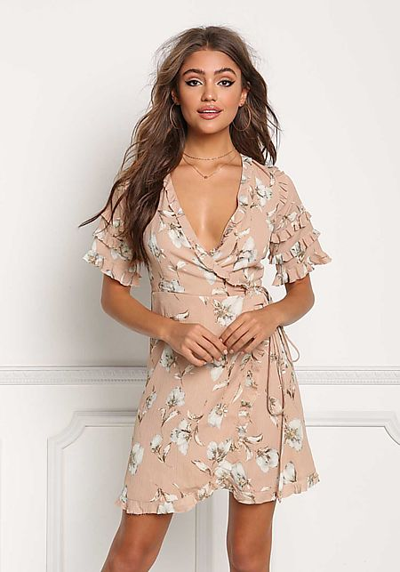 Mauve Crepe Floral Ruffle Tiered Wrap Dress