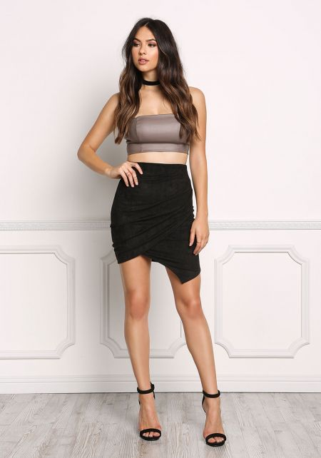 Black Suedette Surplice Slit Skirt