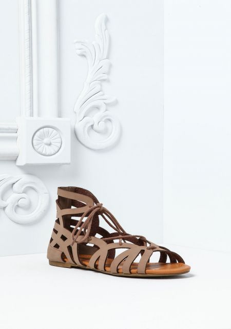 Taupe Cut Out Lace Up Sandals