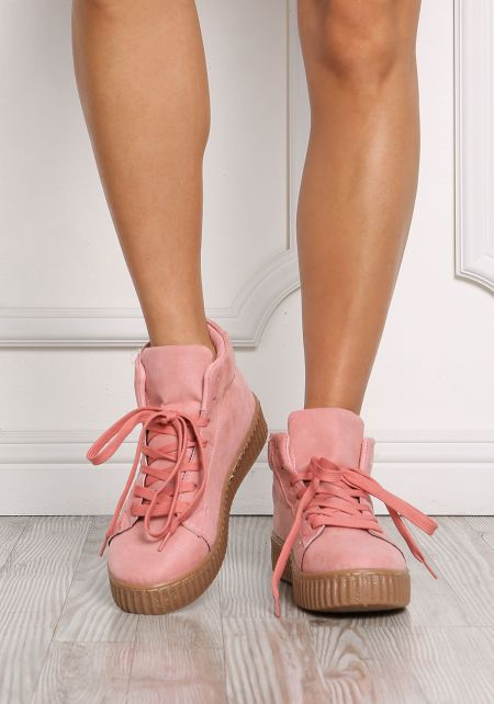 Pink High Top Suedette Sneakers