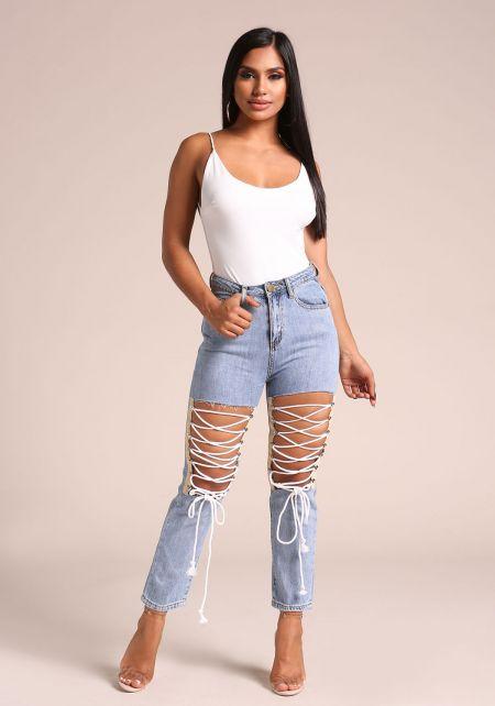 Denim Cut Out Lace Up High Rise Jeans