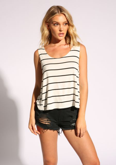 Ivory Stripe Twisted Tank Top