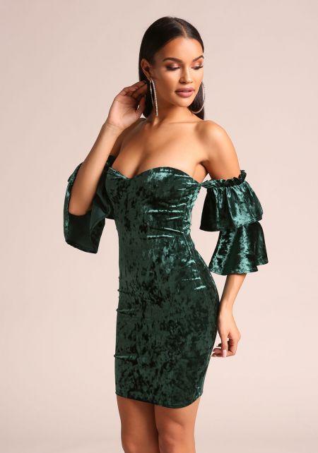 Hunter Green Crushed Velvet Tiered Bell Sleeve Bodycon Dress