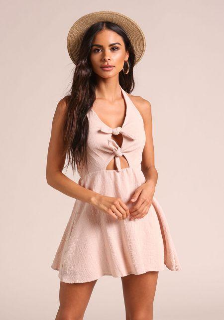 Blush Tie Front Flared Halter Dress