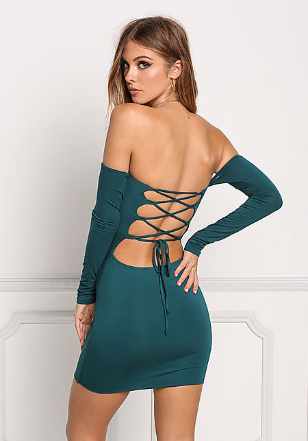 Hunter Green Back Lace Up Bodycon Dress