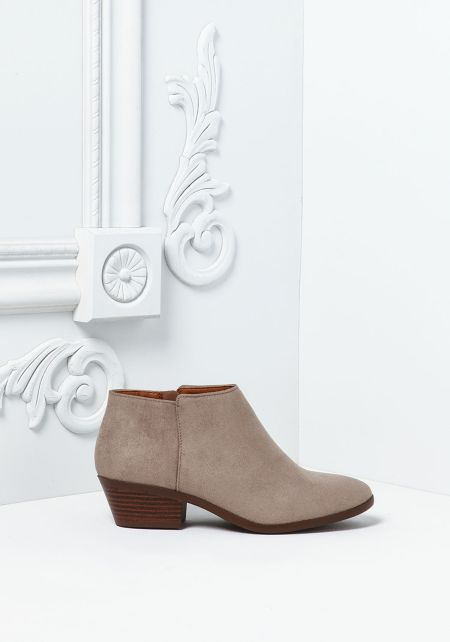 Stone Suedette Ankle Booties