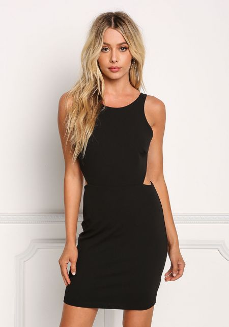 Black Back Cut Out Bodycon Dress