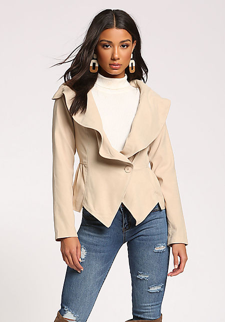 Beige Fold Over Single Breasted Flared Jacket