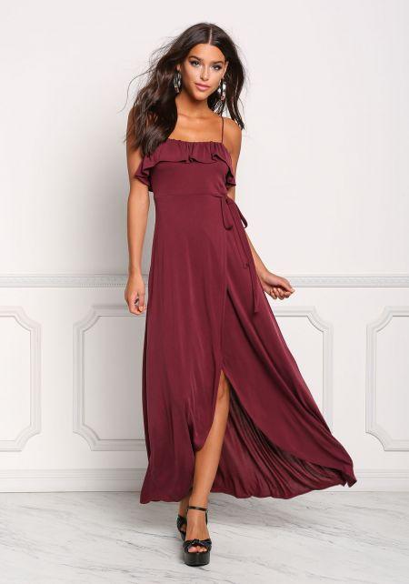 Plum Ruffle Surplice Layered Maxi Dress