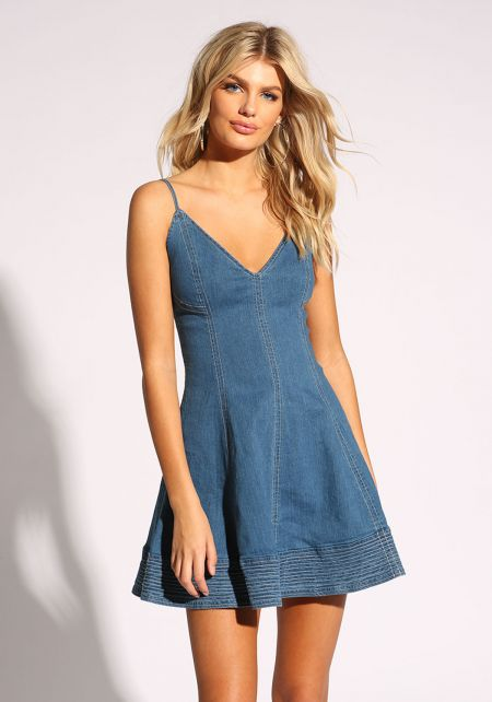 Denim Deep V Flared Dress