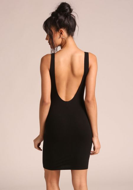 Black Low Back Ribbed Knit Dress