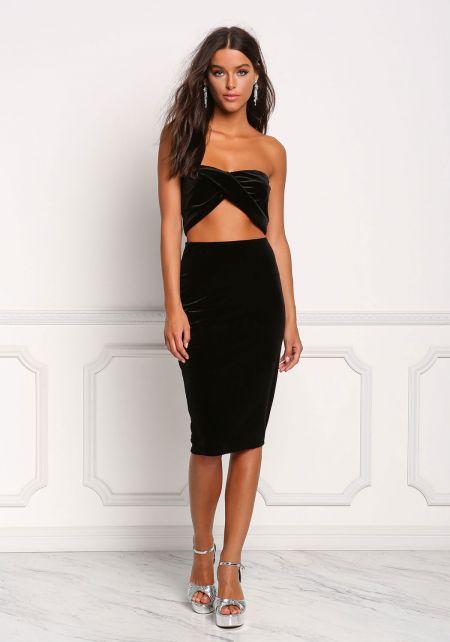Black Velvet High Rise Skirt