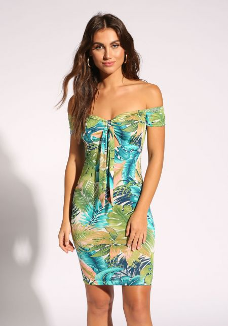 Blue Tropical Tie Front Bodycon Dress