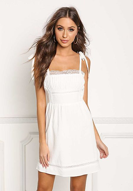 Ivory Linen Lace Tie Strap Shift Dress