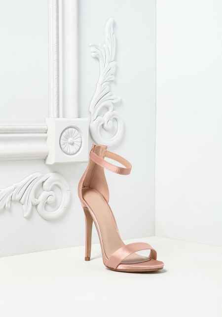 Blush Satin Ankle Strap Heels