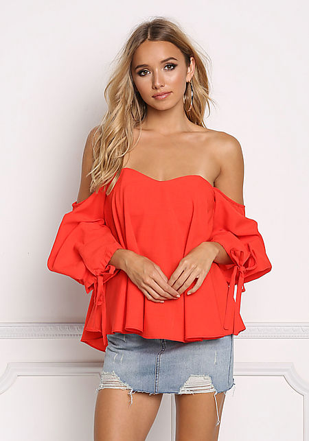 Red Sweetheart Off Shoulder Ruched Blouse