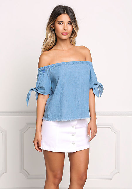 Denim Bardot Tie Sleeve Blouse
