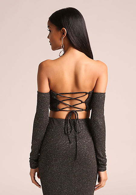 Gold and Black Sparkled Back Lace Up Crop Top