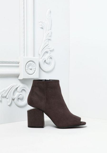 Charcoal Peep Toe Block Heel Booties