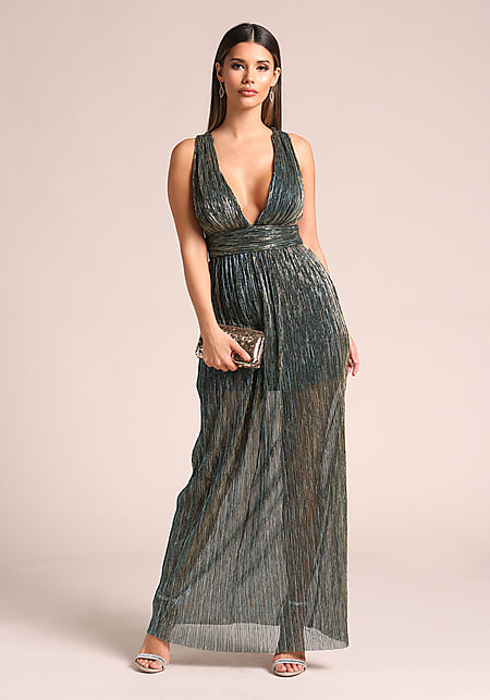 Teal Plunge Twisted Back Strap Metallic Maxi Dress