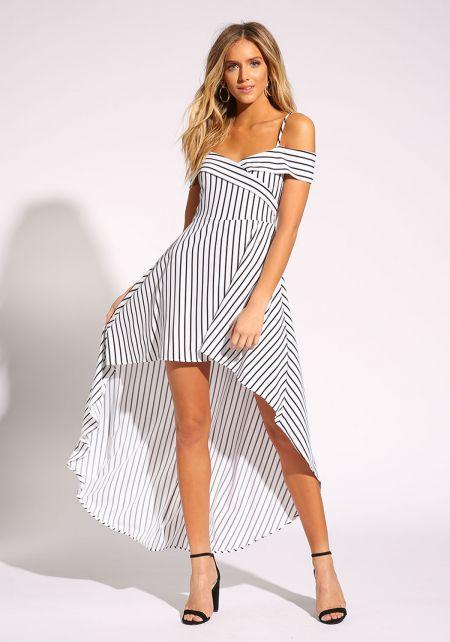 White and Black Pinstripe Hi-Lo Dress