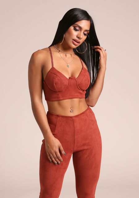 Rust Suedette Bustier Crop Top