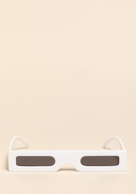 White Micro Rectangular Sunglasses