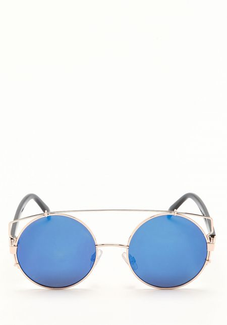 Zero UV Blue Round Cross Bar Sunglasses