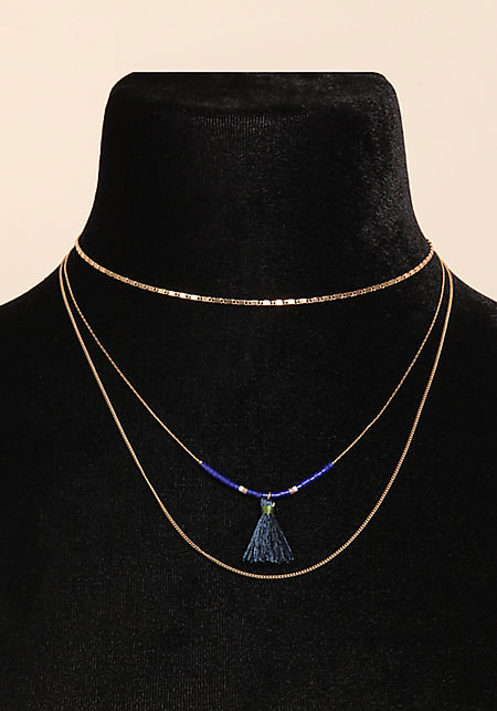 Blue Tassel Beaded Layered Necklace
