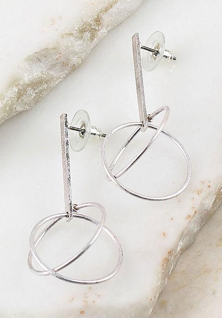 Silver Double Hoop Bar Earrings